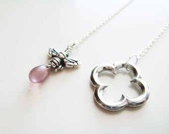 Honey and Clover Necklace - Silver and Amethyst