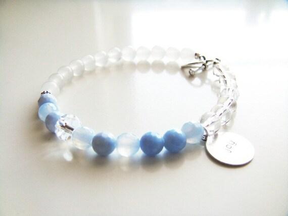 Fertility Tracking Bracelet - Clear Quartz, Blue Agate, Snow Quartz