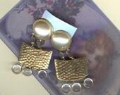 Crystal Pearl Hand Hammered Metal  1980s  Danglie Earrings