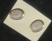 Gold tone and Agate Stone Oval Pierced Earrings   m