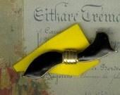 Black Gold Tone Ribbon Brooch