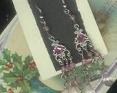 Vintage Long Dangle Pink Pierced Earrings