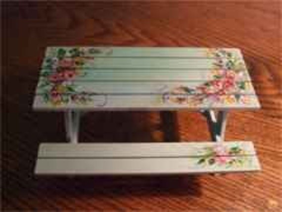 Roses, Roses, Flowers Hand Painted on Artisian Made furniture Adirondeck Table