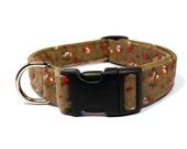 Khaki dog collar - Floral pet collar - Corduroy dog collar - Brown floral pet collar - Khaki corduroy floral unisex adjustable dog collar