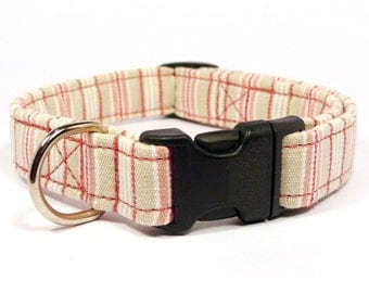 Pink striped dog collar - Pink and white pet collar - Light color dog collar -Light pink and beige striped adjustable collar for lady dogs