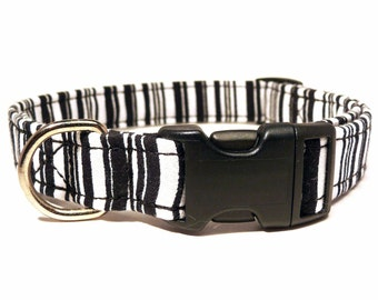 Black&white dog collar - Black and white striped pet collar - Barcode striped dog collar - Barcode adjustable dog collar