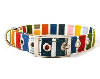 Colorful dog collar - Happy striped pet collar - Metal buckle collar- Happy colourful striped adjustable dog collar with metal buckle