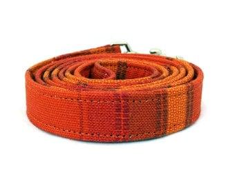 Orange dog leash - Striped pet lead - Orange striped dog lead - Bright orange leash for joyful dogs