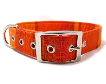 Orange wide striped adjustable dog collar with metal buckle - size M / L / XL / XXL