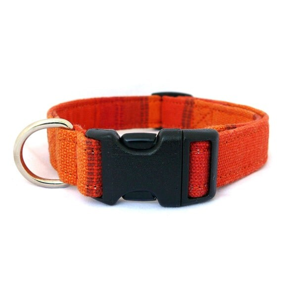 Orange dog collar - Orange striped pet collar - Wide striped dog collar - Bright orange adjustable dog collar