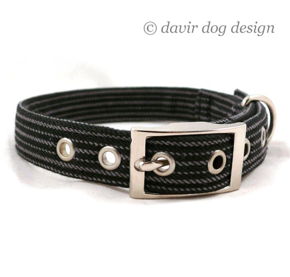Is your dog a gentleman / Black and gray striped adjustable dog collar with metal buckle