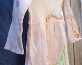Beautiful free bird sparrow hand dyed and hand painted little girls spring dress