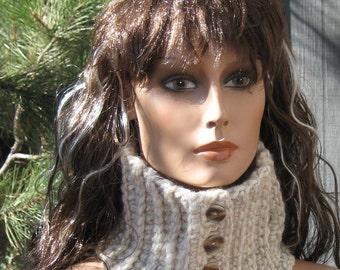Ecru/Cream/Natural Colored Ribbed Neckwarmer/Cowl/Scarflette Chunky Crocheted Wool Blend