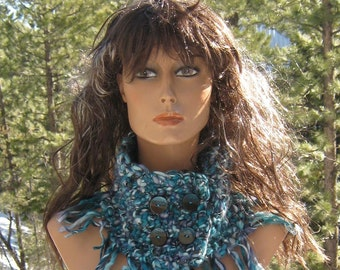 Glacial Ice Blues Wool Hand Crocheted Knit Fringed Neckwarmer