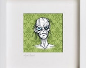 Sophisticated Zombies for the Modern Home: Mossy Baroque Zombie square framed original art print