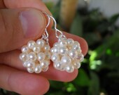 Sale - Woven Freshwater Pearl Bead Earrings Sterling Silver