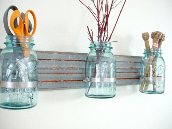 FREE SHIPPING wall vase ORGANIZER upcycled MASON JARS