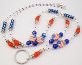 ID Badge Holder, ID Necklace, Glasses Holder - Patriotic Red, White and Blue Flag  ID Lanyard/Badge Holder
