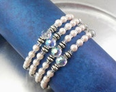 Memory Wire Bracelet - Bold Light Pink Glass Pearl and Aurora Borealis Crystal Glass