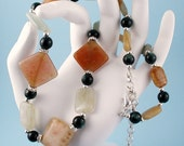 Beaded Jewelry Set - Jade and Cat's Eye Glass Necklace and Earrings
