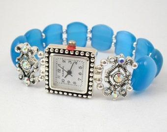 Blue Cats Eye Stretchy Watch with Aurora Borealis Swarovski Crystal