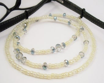 Eyeglass Leash, Glasses Holder Eyeglass Lanyard - Pastel Cream and Rainbow Crystal Glass