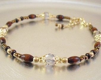 Beaded Ankle Bracelet - Crystal and Metallic Gold Czech Glass Anklet With Wood Accents