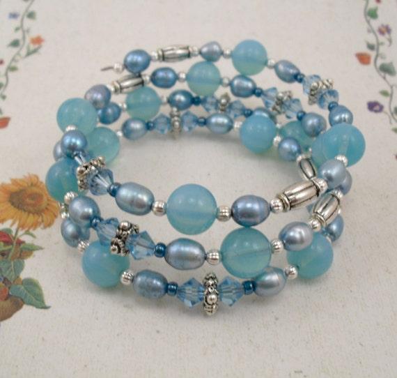 Memory Wire Bracelet - Bold Blue Opalite Swarovski Crystal and Freshwater Pearl