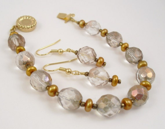 Beaded Bracelet and Earring Set - Copper Czech Glass and Freshwater Pearls