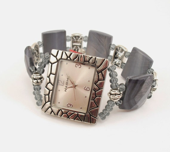 Stretchy Bracelet Watch - Grey Faceted Shell and Swarovski Crystal