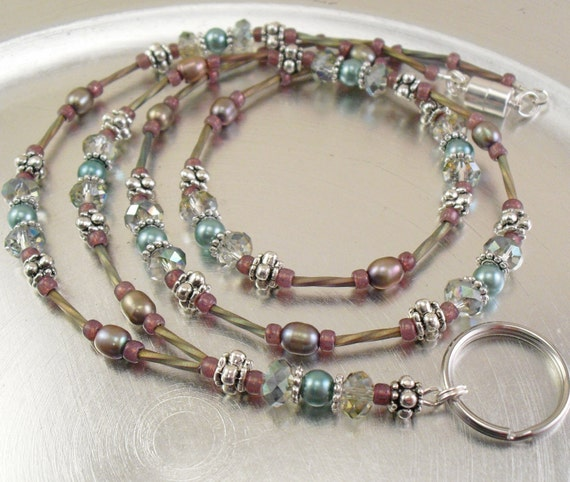 RESERVED for nancandersen1  - Custom Made Sparkly Crystal Glass and Pearl ID Lanyard/Badge Holder