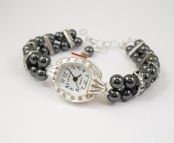 Beaded Bracelet Watch - Double Strand Hematite Bracelet Watch with Rhinestone Studded Silver Face