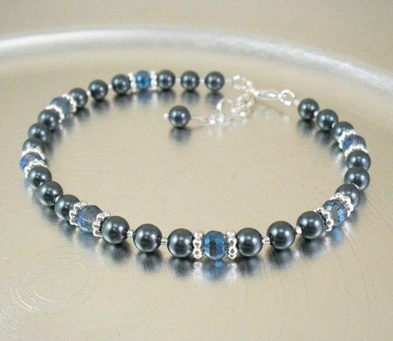 Beaded Ankle Bracelet - Tahitian Look Swarovski Pearl and Blue Crystal Glass Anklet