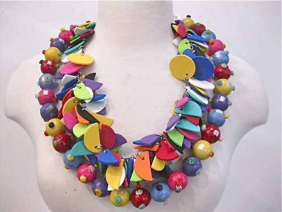 color, color - two separate necklaces - painted wood bead necklace and foam felt cut out necklace
