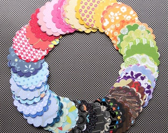 DESTASH - 100 Assorted 2 inch Scallop Circle Embellishments, 10 Each of 10 Different Colors