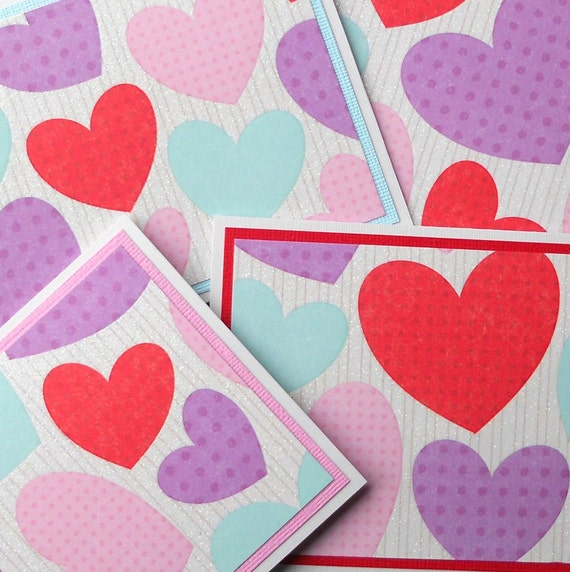 Valentines Day Card Set: 4 Handmade Cards with Matching Embellished Envelopes - Hearts Galore