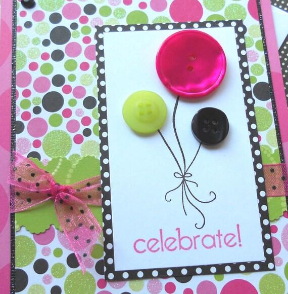 Celebrate - Handmade Birthday Card with Matching Embellished Envelope