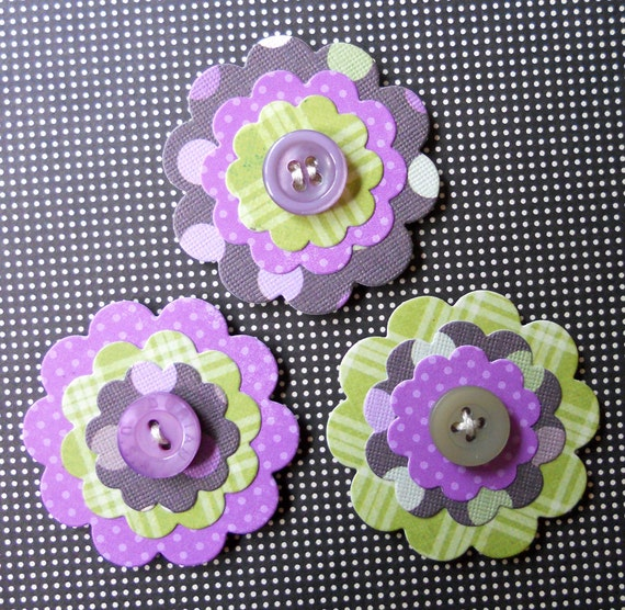 Button/Paper Flower Embellishments: Set of 3 - Lavender Fields Button Bits