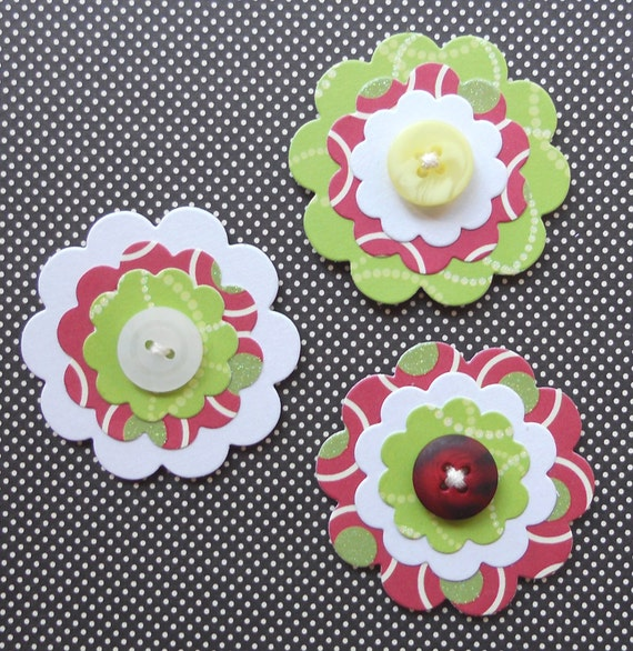 Button/Paper Flower Embellishments: Set of 3 - Holly Jolly Button Bits