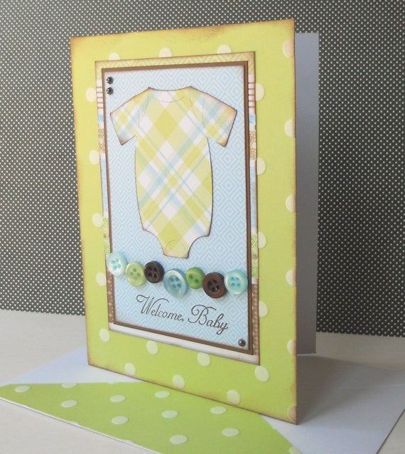 Handmade Baby Boy Congratulations Card with Matching Embellished Envelope - Plaid Boy Onesie