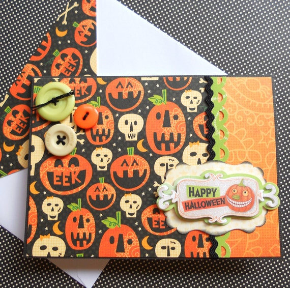 Handmade Halloween Card with Matching Embellished Envelope - Just Jack