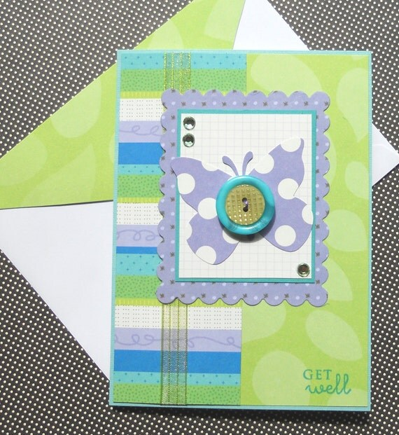 Handmade Get Well Soon Card with Matching Embellished Envelope - Violet Butterfly
