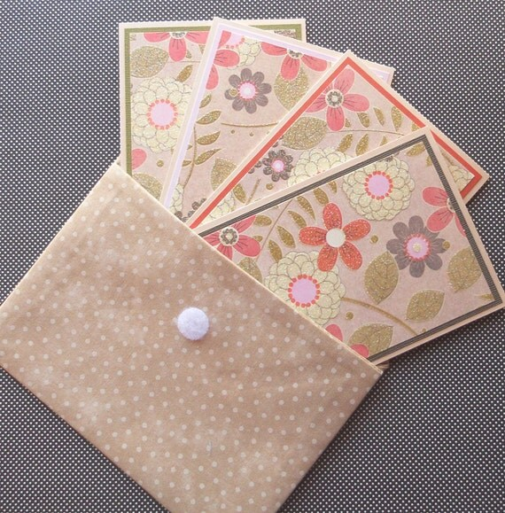 Blank Notecard Set: 4 Handmade Cards with Matching Embellished Envelopes, Packaged in a Fabric Envelope - Desert Garden