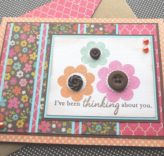 Thinking of You Card with Matching Embellished Envelope - Flower Trio