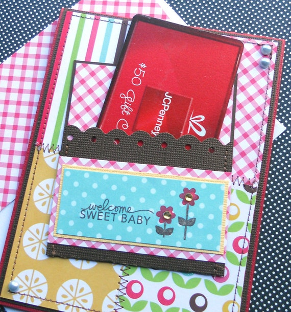 New Baby Girl Giftcard Holder with Matching Embellished Envelope - Sweet Spring