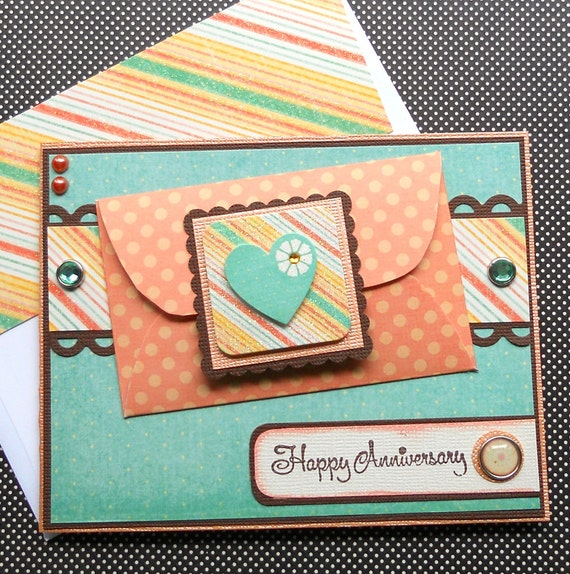 Anniversary Card / Giftcard Holder with Matching Embellished Envelope - Mango Frost