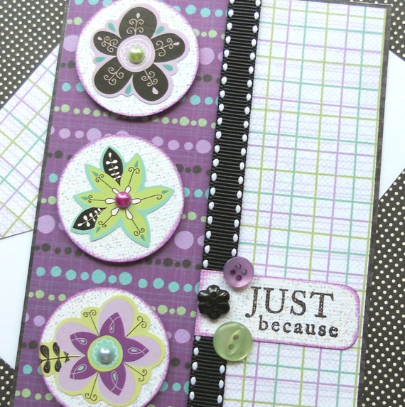 Thinking of You Card with Matching Embellished Envelope - Floral Fun