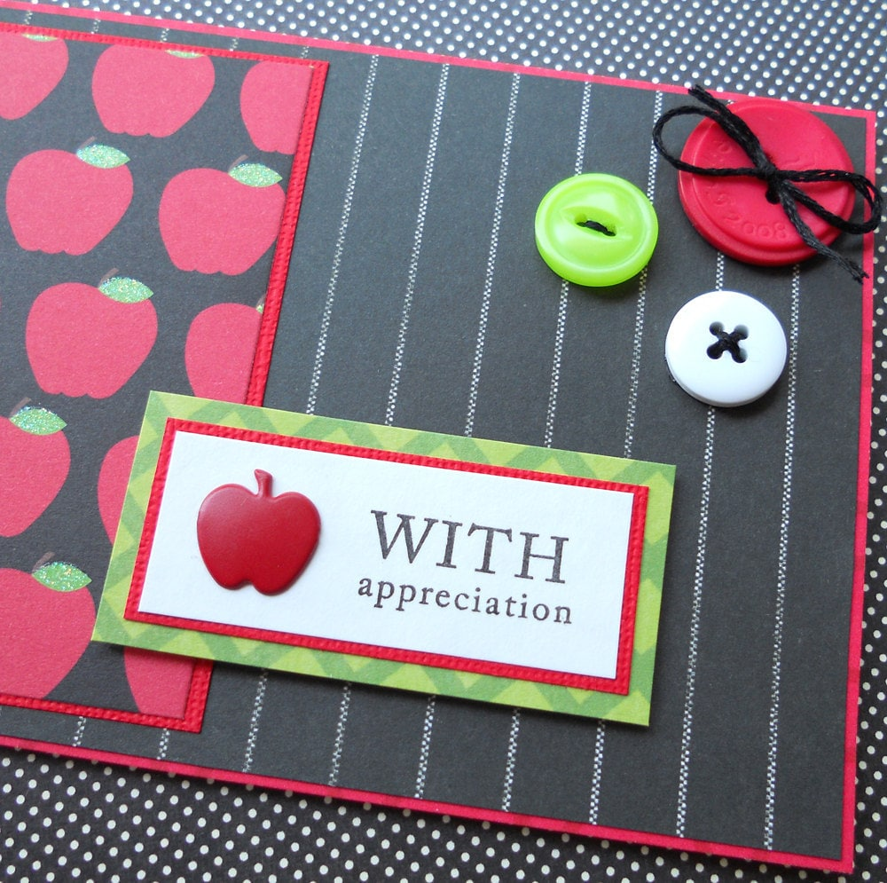 apples handmade teacher thank you card with matching