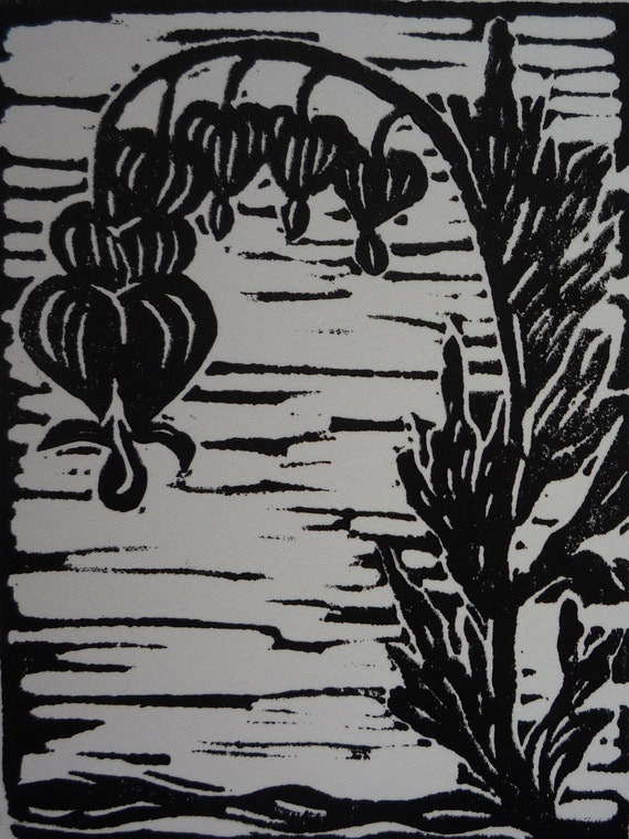 Bleeding Heart May Print of the Month Linocut Hand Pulled Print