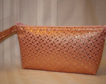 Shimmer Wristlet - Pale Pink and Gold - Marked Down!